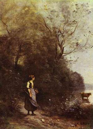 Peasant Woman with a Cow, Jean-Baptiste-Camille Corot, 1865-1870